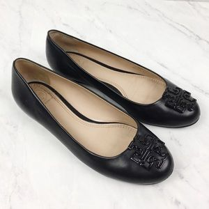 Tory Burch Black Leather Flats, Size 6M